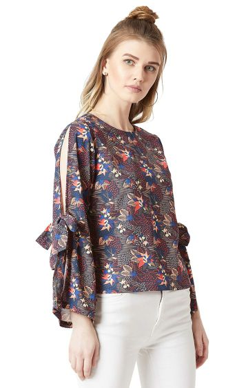 MISS CHASE   Multicoloured Floral Cut-Out and Tie-Up Detailing Top