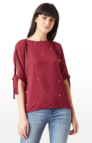 MISS CHASE | Maroon Solid Pearl Tie up Knot Top