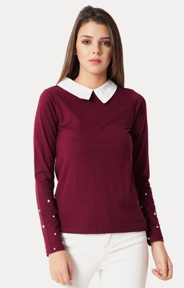 MISS CHASE | Magenta Solid Pearl Detailing Collared Top