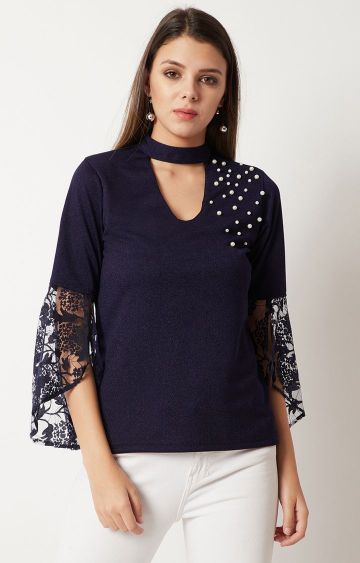 MISS CHASE | Navy Solid Top