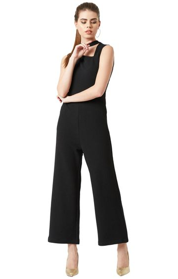 MISS CHASE | Black Solid Jumpsuit