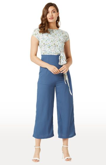 MISS CHASE | White and Blue Floral Jumpsuit