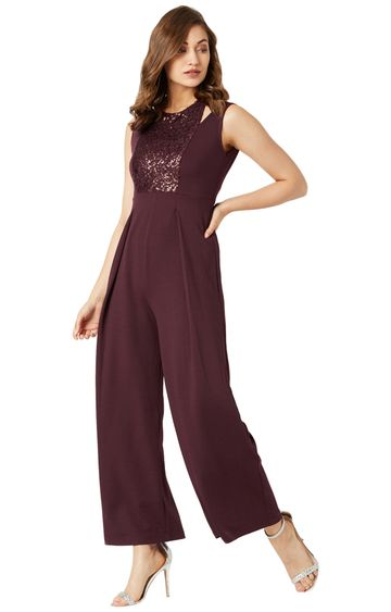 MISS CHASE | Wine Red Solid Jumpsuit