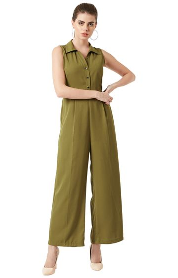 MISS CHASE | Olive Green Solid Jumpsuit