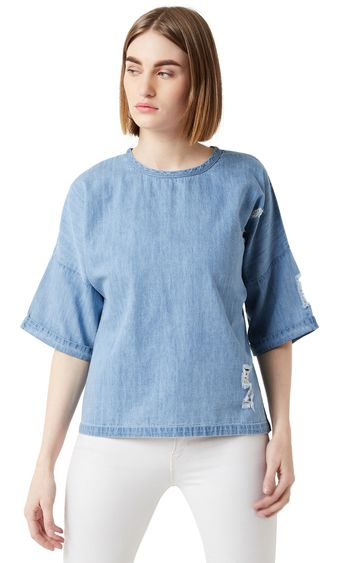 MISS CHASE | Light Blue Solid Top