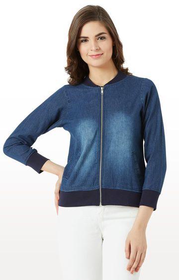 MISS CHASE | Blue Solid Denim Jacket