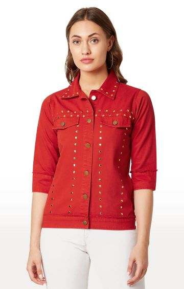 MISS CHASE | Red Solid Denim Jacket