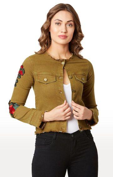 MISS CHASE | Olive Solid Denim Jacket
