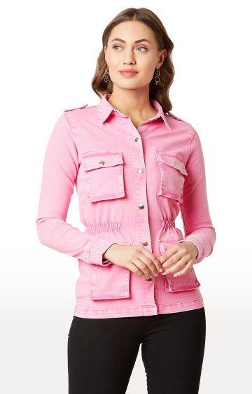 MISS CHASE | Pink Solid Denim Jacket