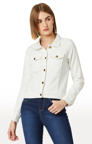 MISS CHASE | White Solid Denim Jacket
