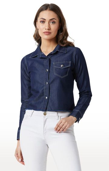MISS CHASE | Navy Solid Snap Button Detailing Casual Cropped Shirt