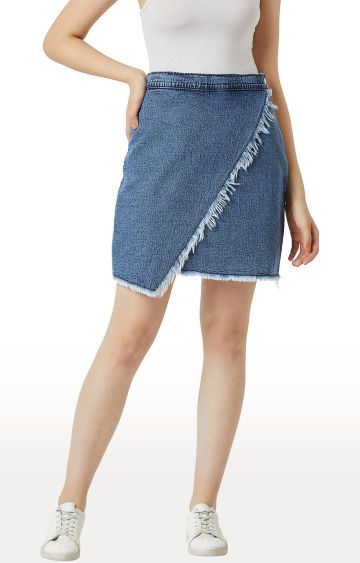 MISS CHASE | Blue Solid Asymmetric Skirt