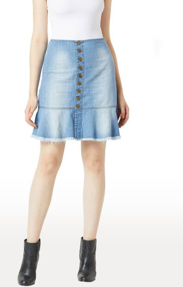 MISS CHASE | Blue Solid Straight Skirt