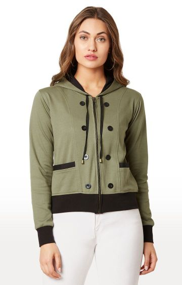 MISS CHASE | Green Solid Hoodie