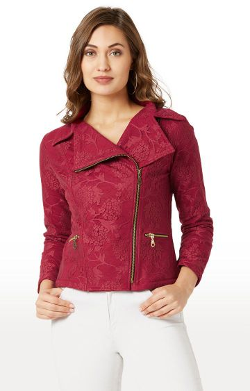 MISS CHASE | Maroon Embroidered Jacket