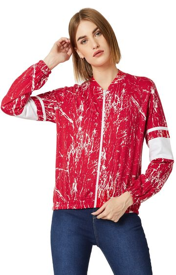 MISS CHASE | Red Printed Bomber Jacket