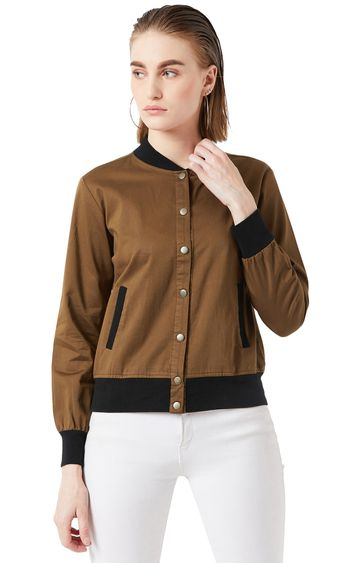 MISS CHASE | Brown Solid Bomber Jacket
