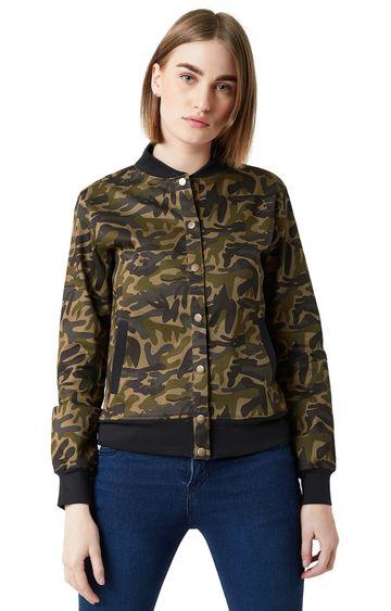 MISS CHASE | Multicoloured Camouflage Bomber Jacket
