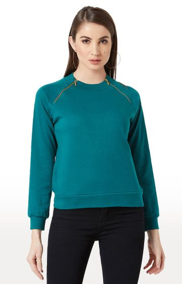 MISS CHASE | Teal Solid Sweatshirt