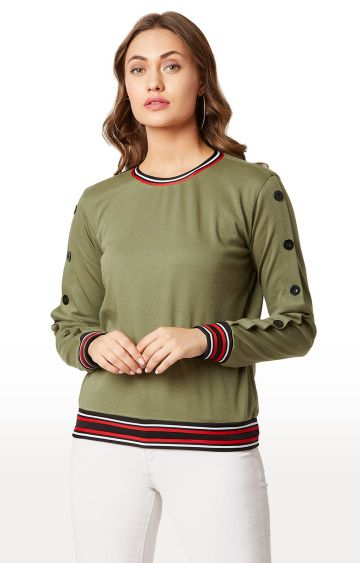 MISS CHASE | Olive Solid Sweatshirt