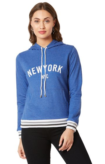 MISS CHASE | Azure Blue Printed Sweatshirt
