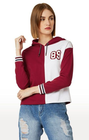 MISS CHASE | Maroon and White Colourblock Hoodie