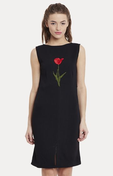MISS CHASE | Black Embroidered Sheath Dress