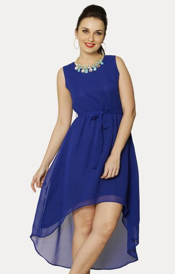 MISS CHASE | Blue Night And Sway Asymmetric Dress