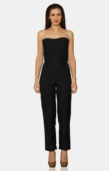 MISS CHASE | Black Young Love Strapless Jumpsuit