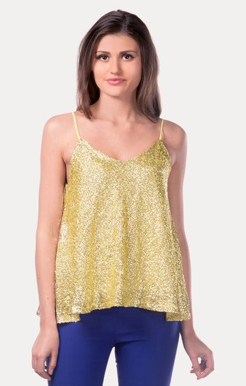 MISS CHASE | Gold It'S A Party Sequin Flare Top