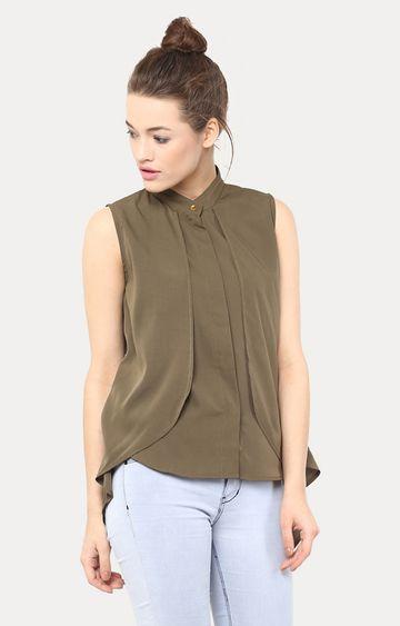 MISS CHASE | Green Free Spirit Collared Highlow Shirt