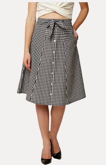 MISS CHASE | Black and White Checked Buttoned Panelled Skirt