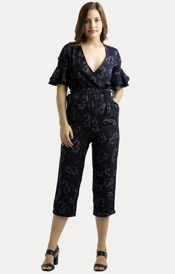 MISS CHASE | Navy Blue Printed Gathered Ruffled Belted Wrap Jumpsuit