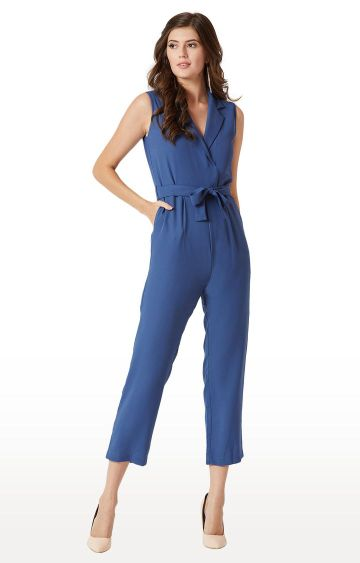 MISS CHASE | Azure Blue Solid Jumpsuit