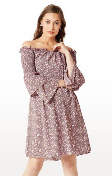 MISS CHASE   Mauve Floral Mini Smocking Detailing Bardot Style Dress