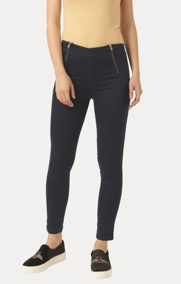 MISS CHASE | Navy Blue Super Skinny Fit Zippered Stretchable Jeggings