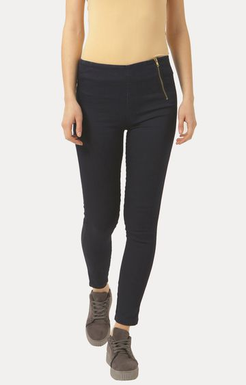 MISS CHASE | Navy Blue Super Skinny Fit Stretchable Jeggings
