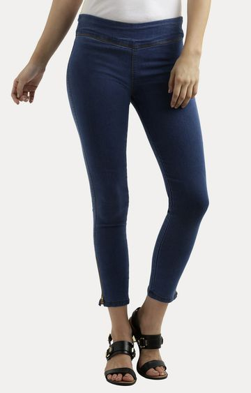 MISS CHASE | Blue Super Skinny Fit High Rise Zipper Detailing Stretchable Jeggings