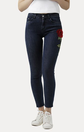 MISS CHASE | Navy Blue Skinny Fit High Rise Embroidered Patch Stretchable Jeans
