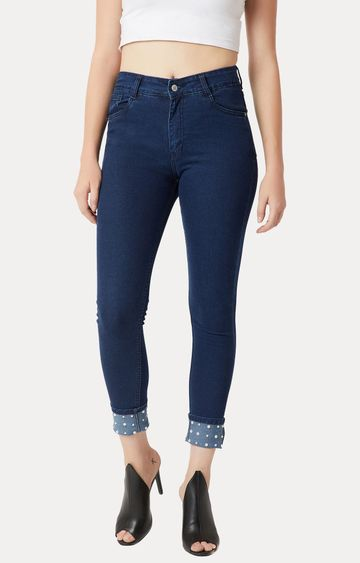 MISS CHASE | Navy Solid High Rise Pearl Embellished Stretchable Jeans