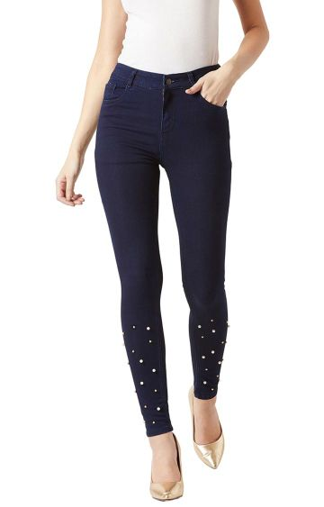MISS CHASE | Navy Solid High Rise Pearl Embellished Stretchable Straight Jeans