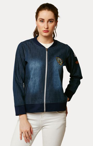 MISS CHASE | Navy Blue Embroidered Detail Patched Bomber Jacket