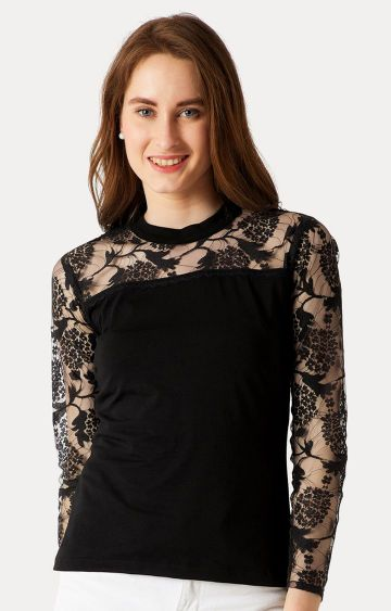 MISS CHASE | Black Solid Lace Detailing Sheer Top
