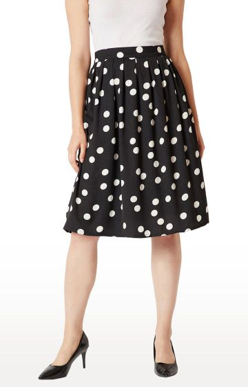 MISS CHASE | Black Polka Dots Pleated Skirt