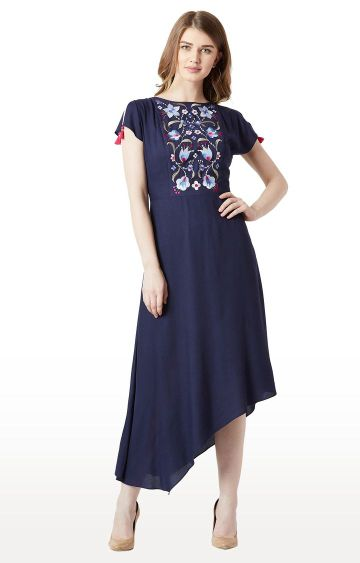 MISS CHASE | Navy Embroidered Asymmetric Dress
