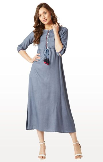 MISS CHASE | Grey Solid Maxi Dress