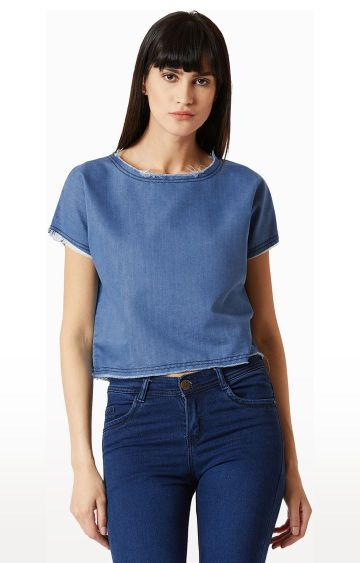 MISS CHASE | Blue Solid Crop Top