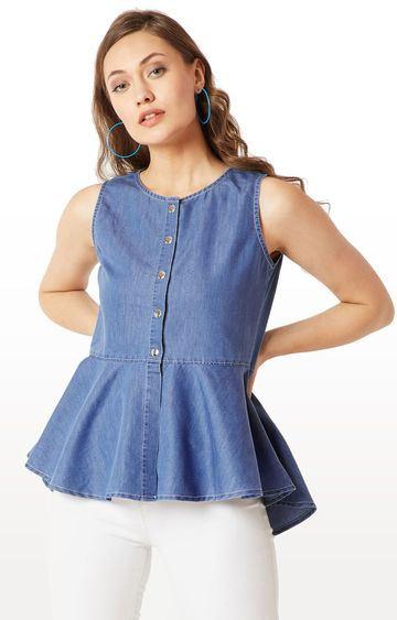 MISS CHASE | Blue Solid Peplum Top