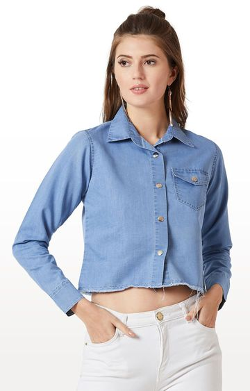 MISS CHASE | Light Blue Solid Casual Shirt