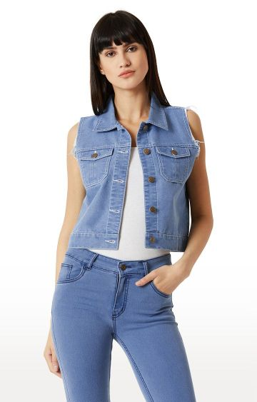 MISS CHASE | Light Blue Solid Ice Wash Raw Edge Detailing Crop Denim Jacket